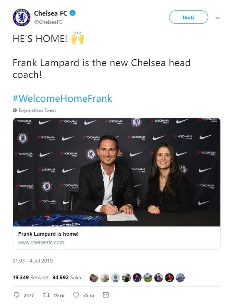 Momen saat Chelsea memperkenalkan Lampard ke publik melalui akun Twitter milik mereka. Foto: Istimewa