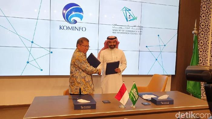 Sah! Indonesia-Arab Saudi Teken MoU Kolaborasi Digital. (Foto: Elvan Dany Sutrisno/detikINET)
