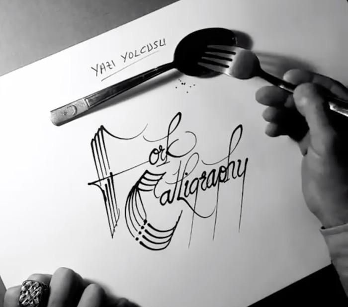 Bermodal Garpu Dan Pisau Seniman Turki Ini Buat Kaligrafi Menakjubkan