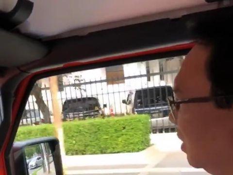 Ahok saat nyetir Jeep Rubicon ke Lapangan Banteng