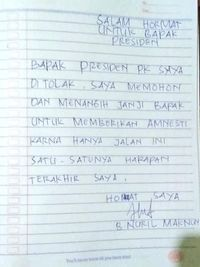 Surat Baiq Nuril untuk Presiden Jokowi