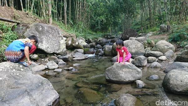 Wisata yang dirintis masyarakat sejak awal Januari ini menawarkan sejumlah keistimewaan. Pengunjung dapat menikmati sensasi bermain di sungai yang jernih khas pedesaan (Adhar/detikcom)