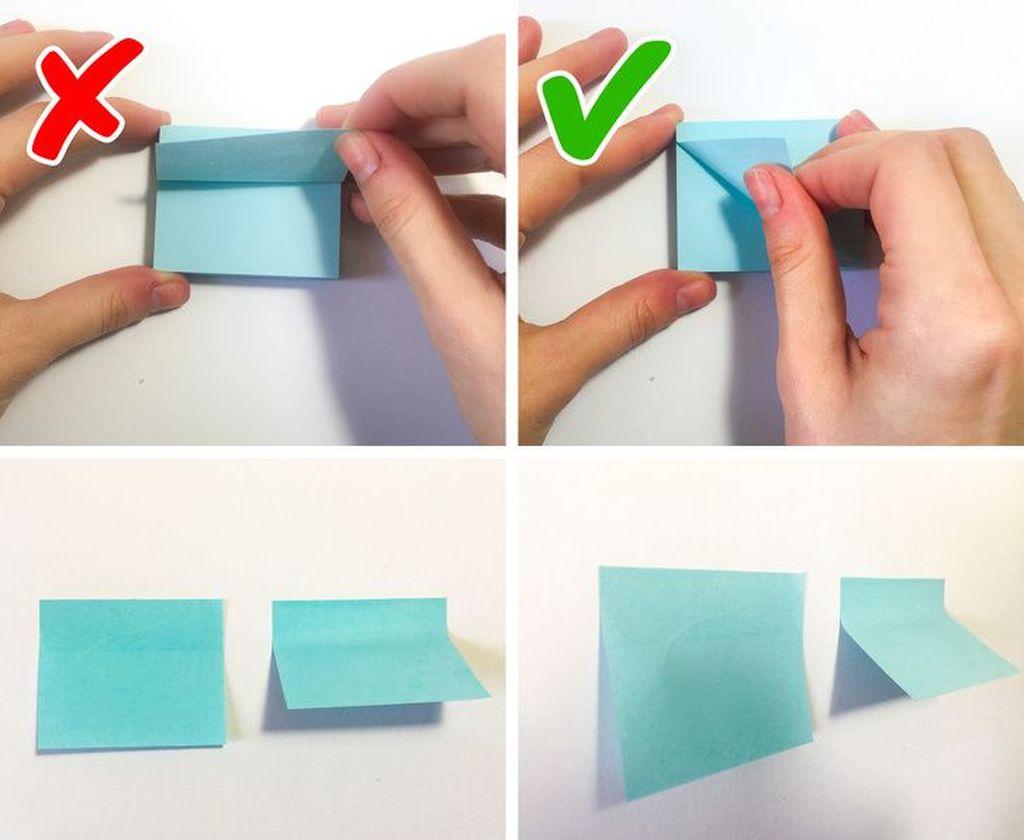Suka pakai post it? Nah, supaya tidak meninggalkan garis,seperti ini cara melepaskannya. (Foto: Via Brightside)