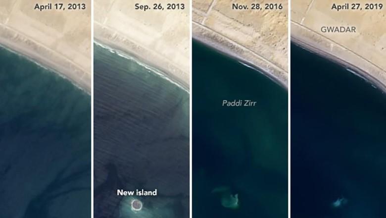 Zalzala Koh yang muncul dan tenggelam (NASA)