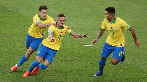 Everton berhasil mencetak gol pembuka di laga final Copa America.