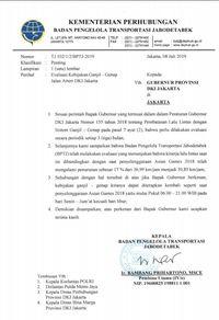 Surat usulan penerapan ganjil-genap di Jakarta seperti saat Asian Games 2018.