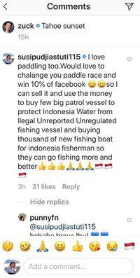 komentar susi di instagram zuck