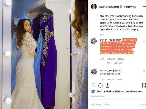 Sunan Kalijaga Undang di Ultah Pernikahan ke-21, Salmafina Bergeming