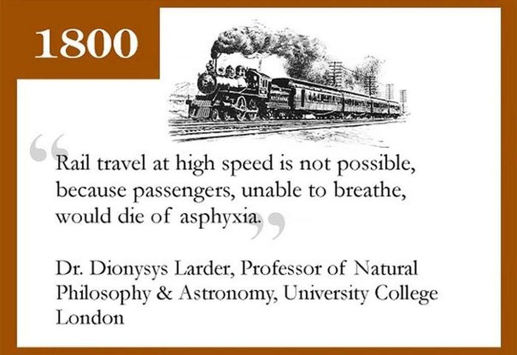 Kereta Api: Perjalanan di rel dalam kecepatan tinggi adalah tidak mungkin, karena penumpang yang tidak bisa bernapas, akan meninggal. Foto: infographicity