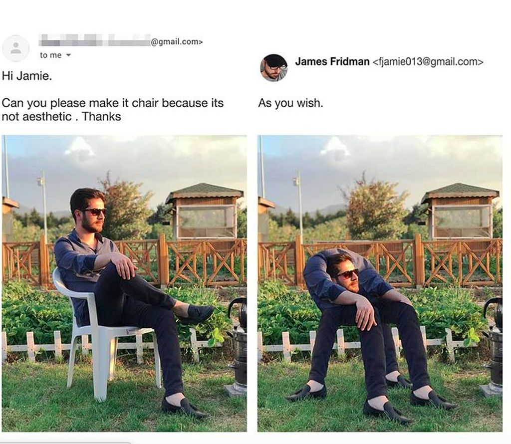 James Fridman, begitu namanya, punya akun menghibur di @fjamie013 yang sudah diikuti oleh jutaan follower. Salah satu follower ini minta kursinya diubah karena kurang estetis, tapi malah dia yang dibentuk menjadi kursi. Foto: Instagram
