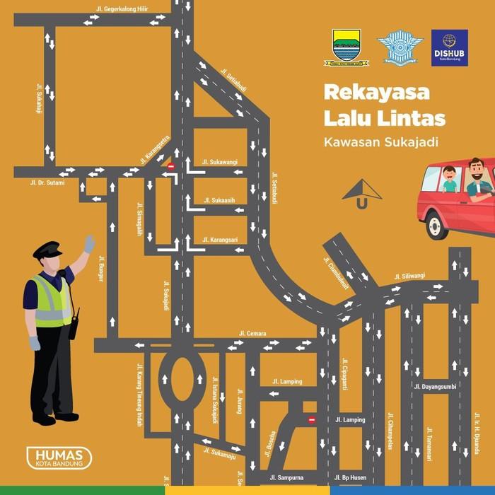 Peta rekayasa lalu lintas Sukajadi, Setiabudi dan Cipaganti, Kota Bandung. (Foto: Dok. Humas Pemkot Bandung)