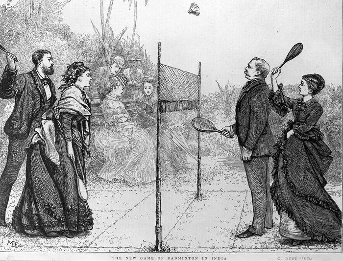 Potret pertandingan bulutangkis ganda campuran yang digelar di India pada tahun 1874. Hulton Archive/Getty Images.