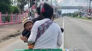 Kisah Haru Ayah Naik Motor 120 Km Bawa Tabung Oksigen Demi Anak Tetap Hidup