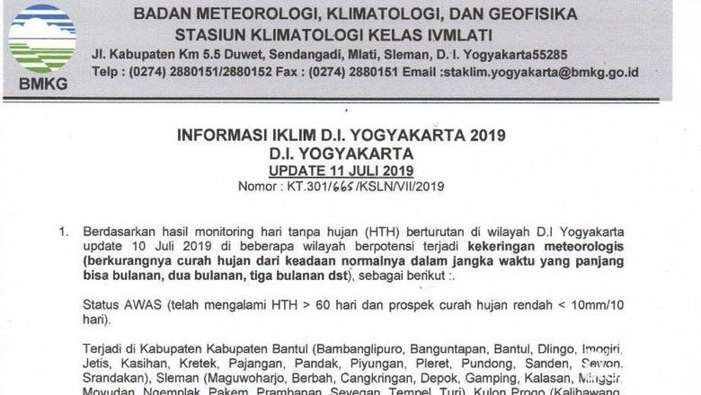 49 Kecamatan di DIY Berstatus Awas Potensi Kekeringan Meteorologis