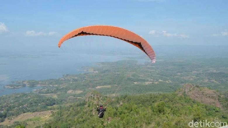 Paralayang di Bukit Joglo, Wonogiri (Aris/detikcom)