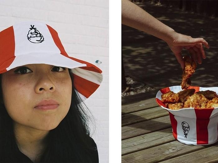 KFC merilis topi yang juga bisa menjadi wadah ayam goreng. (Foto: Dok. KFC Rusia)