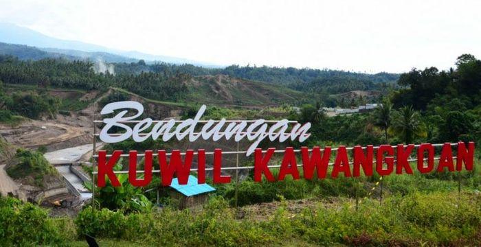 Bendungan Kuwil Kawangkoan memiliki kapasitas tampung 23,37 juta m3 dan luas genangan 139 Ha dibangun sejak 2016 dengan biaya Rp 1,46 triliun. Saat ini progresnya telah mencapai 46% dan ditargetkan selesai pada akhir tahun 2020. Pool/Kementerian PUPR.
