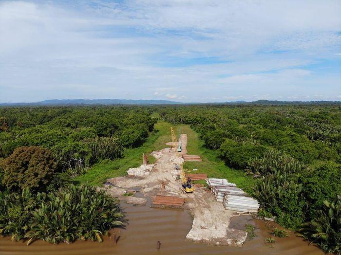 Jembatan cable stayed pertama WIKA di luar negeri ini akan menghubungkan kota Limbang menuju ke Brunei Darussalam. Pool/PT Wijaya Karya (Persero) Tbk.