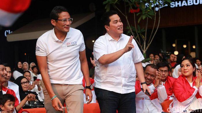 Sandiaga Uno dan Erick Thohir/Foto: Ari Saputra