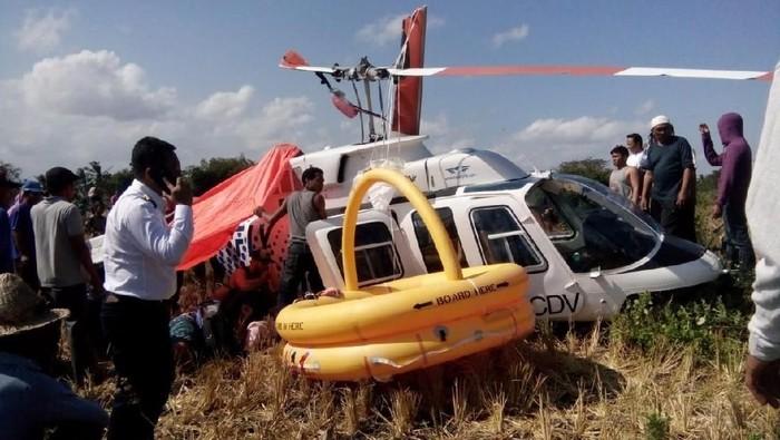 Foto: Helikopter yang jatuh di dekat Bandara Lombok (Dok. Istimewa)