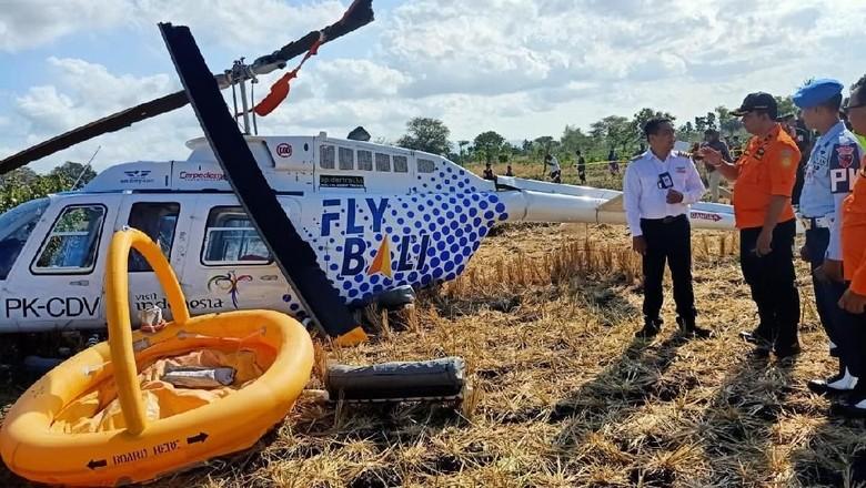 3 Bule Korban Luka Helikopter Jatuh di Lombok Dibawa ke RS Praya