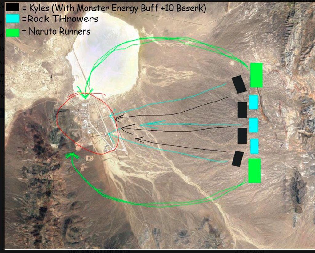 Seorang netizen menggambar peta penyerbuan ini. Salah satu pasukan adalah yang bertugas melakukan lari ala Naruto. Foto: Facebook
