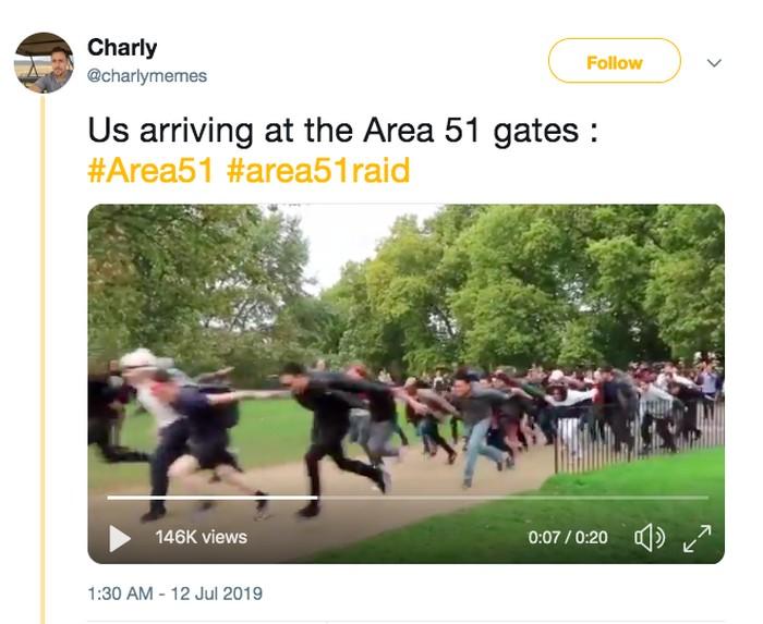 Meme penyerbuan Area 51. Foto: Twitter