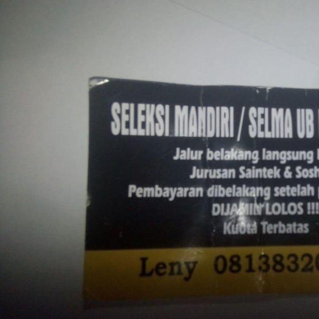 Menyebar! Stiker Tawaran Lolos Jalur Mandiri Universitas Brawijaya Malang