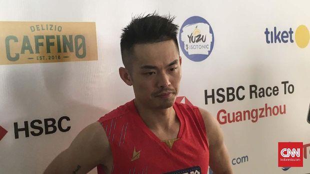 Lin Dan usai mengalahkan Jason Anthony Ho-Shue di Indonesia Open 2019. (