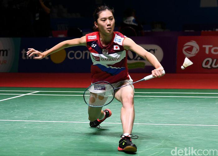 Begini penampilan Aya Ohori saat tampil di Indonesia Open 2019.