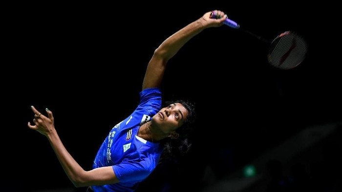 JAKARTA, INDONESIA - JULY 17: Pusarla V. Sindhu of India competes against Aya Ohori of Japan on day two of the Bli Bli Indonesia Open at Istora Gelora Bung Karno on July 17, 2019 in Jakarta, Indonesia. (Photo by Robertus Pudyanto/Getty Images)