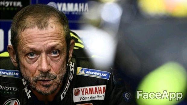 Tampang pebalap MotoGP Valentino Rossi saat diedit dengan aplikasi Faceapp.