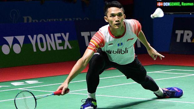 Jonatan Christie tampil di babak pertama Indonesia Open 2019. (
