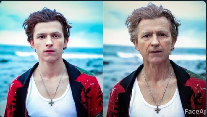 Tom Spider-Man Holland kena efek FaceApp. (Foto: Twitter)