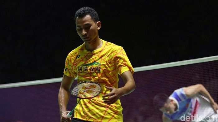 Tommy Sugiarto kandas di babak kedua Kejuaraan Dunia Bulutangkis 2019. (Foto: Agung Pambudhy/detikSport)