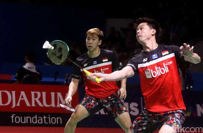 Ganda putra Indonesia Kevin Sanjaya Sukamuljo/Marcus Fernaldi Gideon melangkah ke perempat final Indonesia Open 2019.