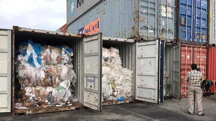 Kiriman sampah yang akan dikembalikan oleh Kamboja ke AS dan Kanada (Cambodia Ministry of Environment via CNN)
