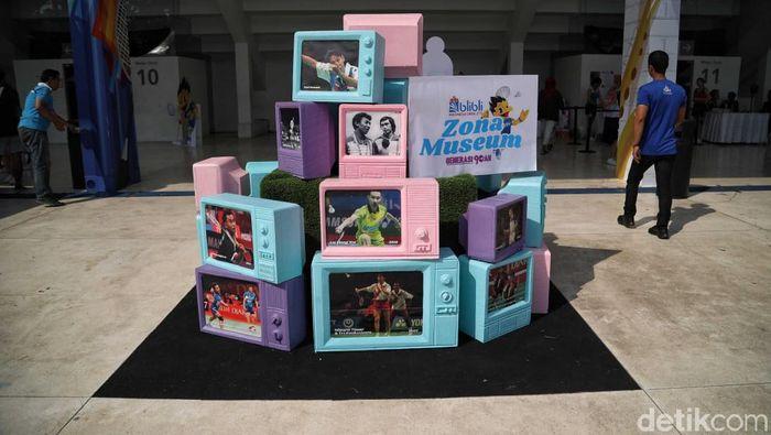Zona museum Indonesia Open 2019 mengajak penonton kembali ke masa lalu. (Mercy Raya/detikSport)
