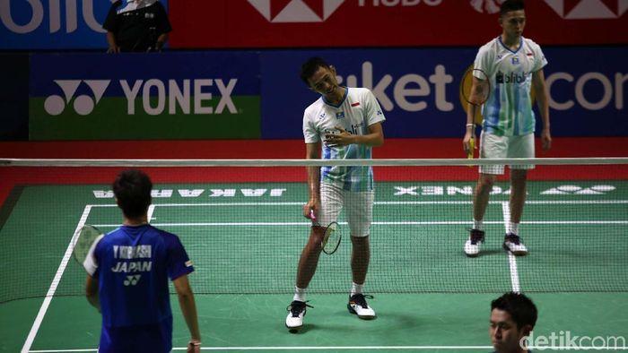 Performa Fajar/Rian dinilai di bawah ekspektasi setelah tersingkir di perempatfinal Indonesia Open 2019. (Foto: Agung Pambudhy)