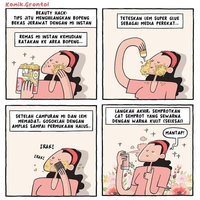 Heboh dengan penggunaan mie instan untuk menambal perabotan rumah yang bolong, akhirnya komikus tanah air itu membuat komik strip ini. Ada ada aja ya! Foto: Instagram komik.grontol