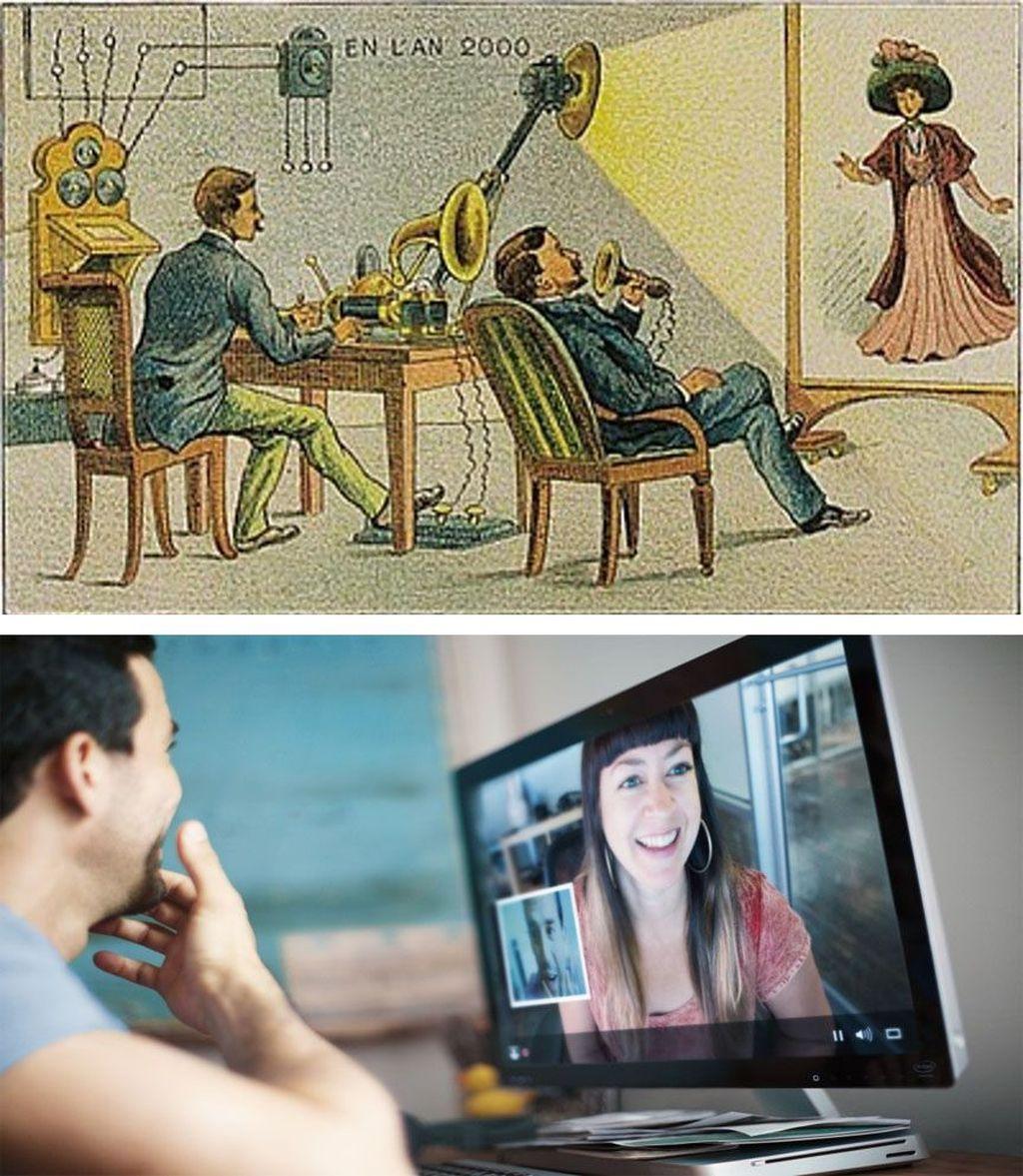 Video call. Sejumlah seniman abad ke-19 seperti Jean-Marc Côté, punya kemampuan melihat masa depan. Dia adalah salah satu pencipta En L'An 2000, serangkaian gambar dari pencapaian teknologi yang dibayangkan akan ada di tahun 2000-an. Dalam karya yang dicetak pertama kali tahun 1899, Jean-Marc Côté menggambarkan di masa depan orang melakukan percakapan video jarak jauh. Tentu saja saat itu belum ada teknologi visual semacam itu.Foto: via Brainberries