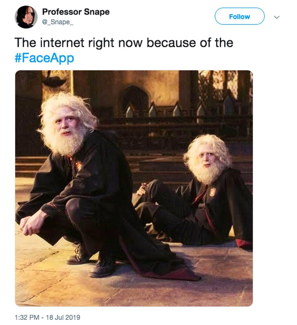 Internet dipenuhi wajah tua gara-gara FaceApp. Foto: Twitter