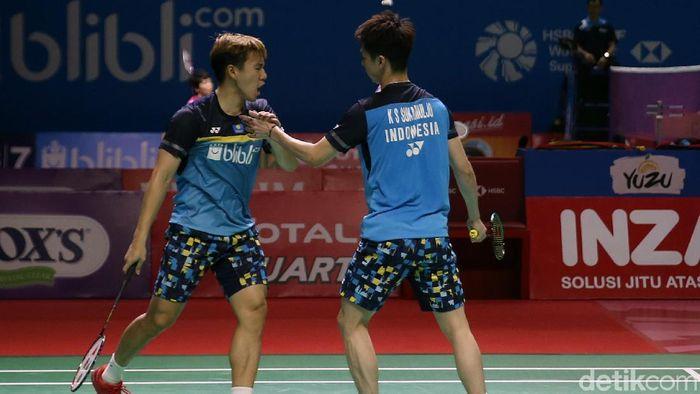 Kevin Snajaya Sukamuljo/Marcus Fernaldi Gideon jumpa Fajar Alfian/Muhammad Rian Ardianto di semifinal China open 2019. (Agung Pambudhy/detikSport)