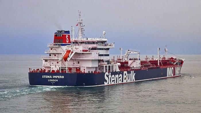 Kapal tanker berbendera Inggris, Stena Imperio, yang ditahan Iran sejak Juli lalu (Stena Bulk via AP)