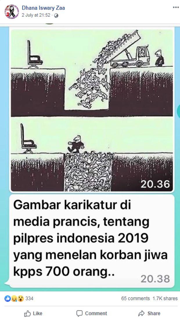 Screenshot postingan Facebook yang memuat hoax pemilu 2019