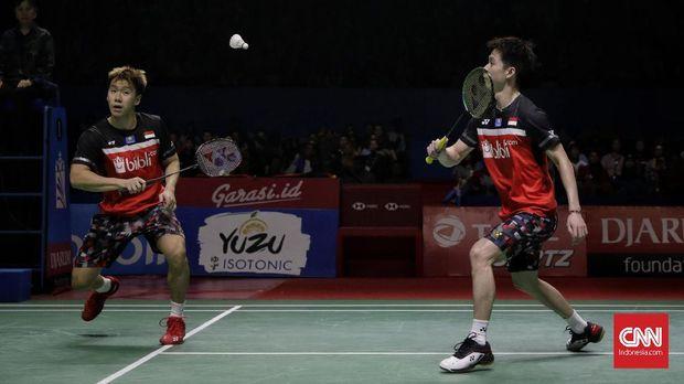 Kevin/Marcus untuk kali kedua beruntun mengalahkan Ahsan/Hendra di final. (CNN Indonesia/Adhi Wicaksono)