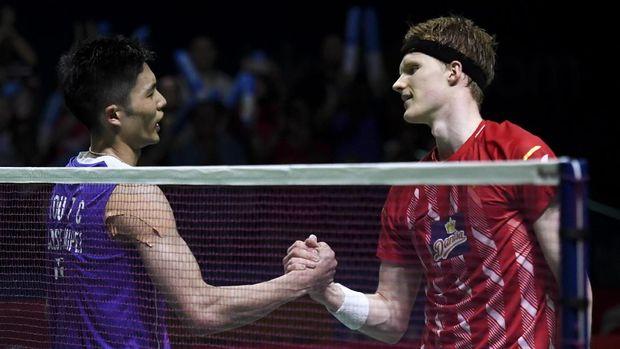 Chou Tien Chen mengalahkan Anders Antonsen di final Indonesia Open 2019. (