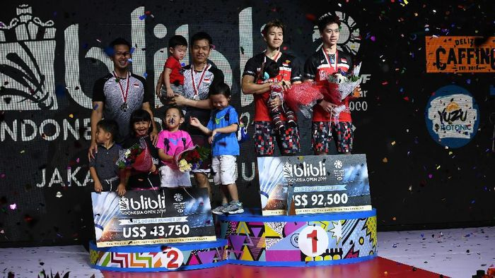 Ganda putra menciptakan all Indonesian finals di Indonesia Open 2019 (Foto: Robertus Pudyanto/Getty Images)