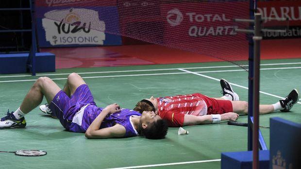 Tien Chen susah payah mengalahkan Antonsen di Indonesia Open 2019. (