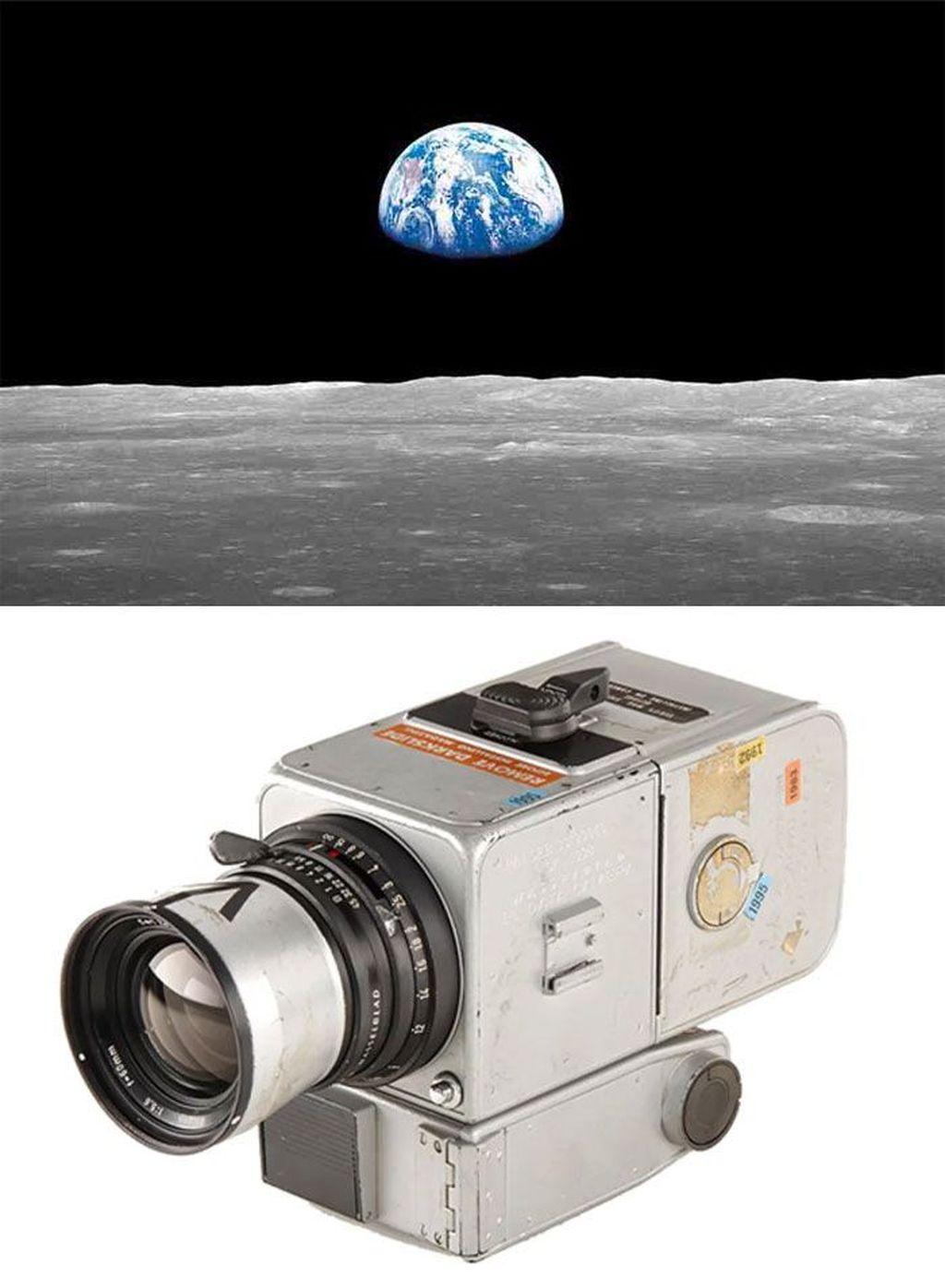 Earhtrise (1968) karya William Andres diambil dari kamera Hasselblad 500 EL modifikasi. Foto: Bored Panda
